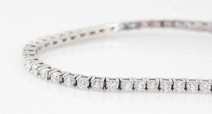 14 quilates Oro blanco - Brazalete Diamante