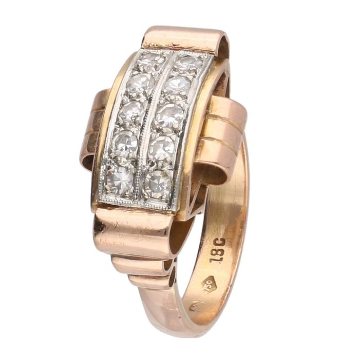 18 kt rose gold Art Deco tank ring set with approx. 0.30 ct diamonds in total - Ring size: 17.75 mm