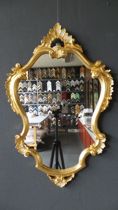 Large Venetian Crested Mirror - Rococo stijl - Glas, Hout, Verguld