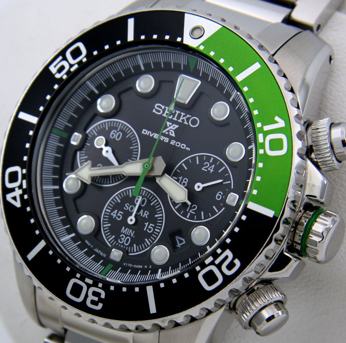 "Seiko - Solar Chronograph Diver's 200m ""Black-Green"" - ""NO RESERVE PRICE"" - Homme - 2019"