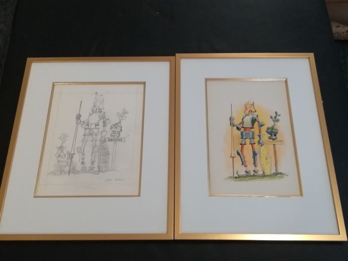 Carl Barks, original watercolour + pencil prelim - Sir Bruce - First edition - (1978)