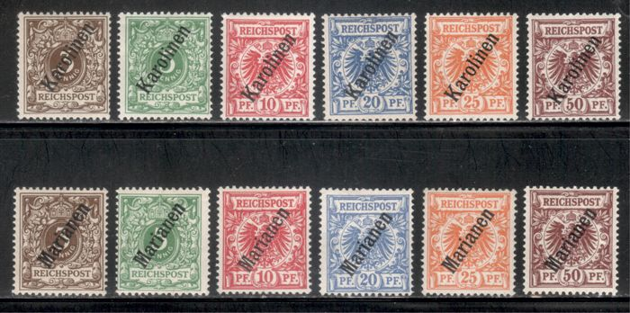 "卡羅琳斯和馬里亞納群島 1900 - ""Oblique overprints"", two complete sets - Michel zweimal 1-6 II"
