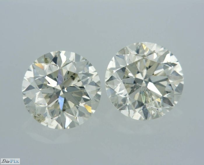 2 pcs Diamanten - 1.80 ct - Rond - I - SI1