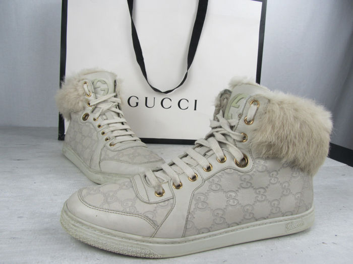 4ee0e97f05b Gucci - Guccissima Fur Trim High-Top Sneakers - Catawiki