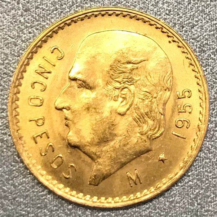 cinco pesos gold coin 1955