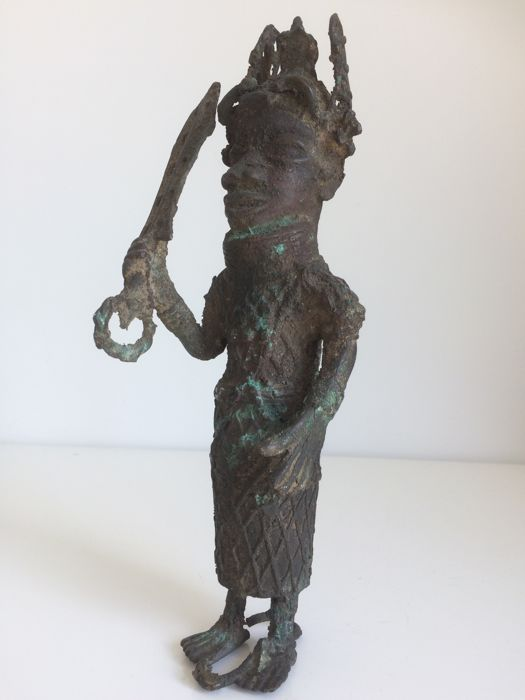 African Bronze Figure, Benin, Nigeria, Probably Mid-20th Century
