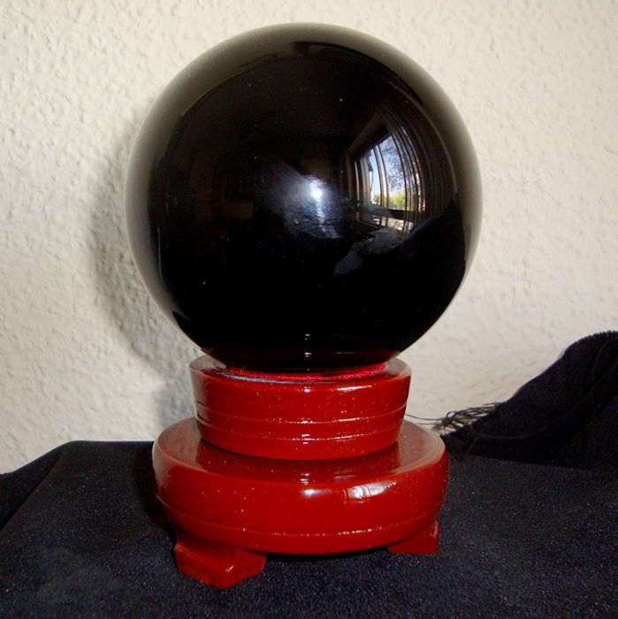 Mexican black obsidian polished sphere - 10 × 10 × 10 cm - 1240 g