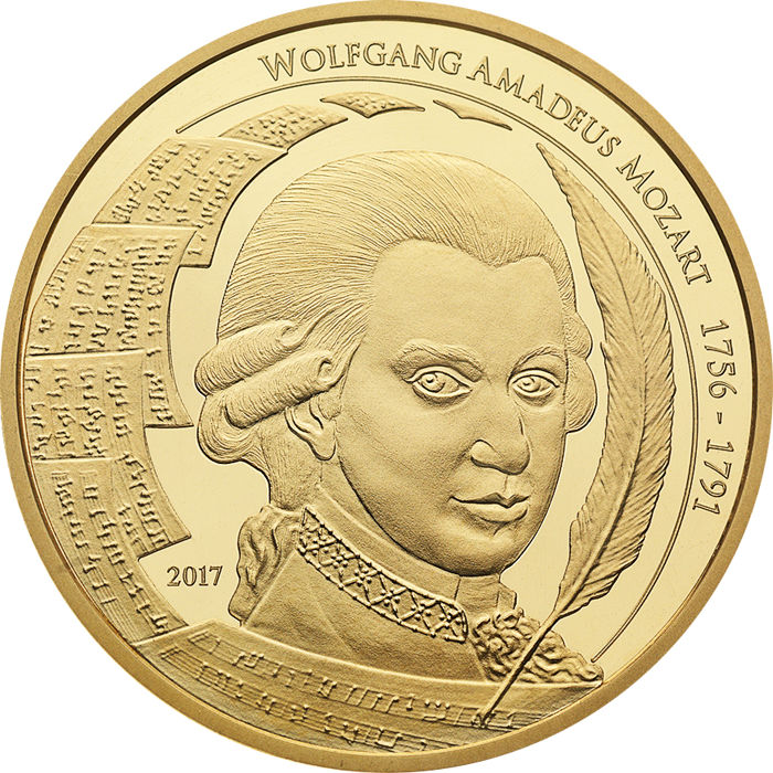 Palau - 50 Dollar 2017 Amadeus Mozart Goldmünze 1/4 oz 999.9 - Gold
