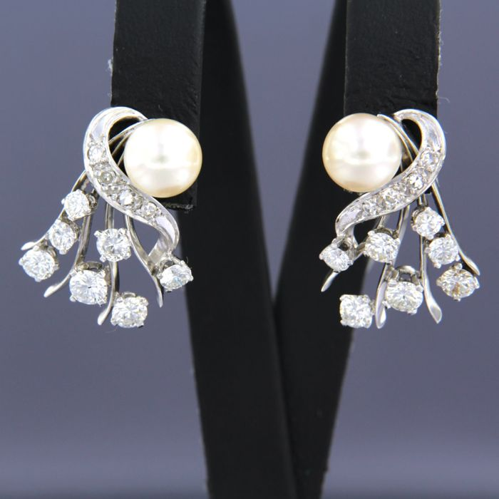 Earrings - White gold - 1.3 ct - Diamond and Pearl