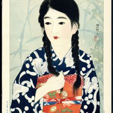 """Litho - Ito Shinsui (1898-1972) - 'Beauty and Fireflies' - From the series """"One Hundred Beauties in Takasago-dye Light Kimono"""" - 1931"""