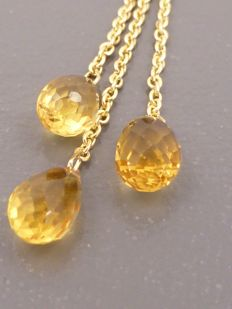 18 kt Yellow gold long earrings set with 6 ct briolette cut citrines - no reserve price