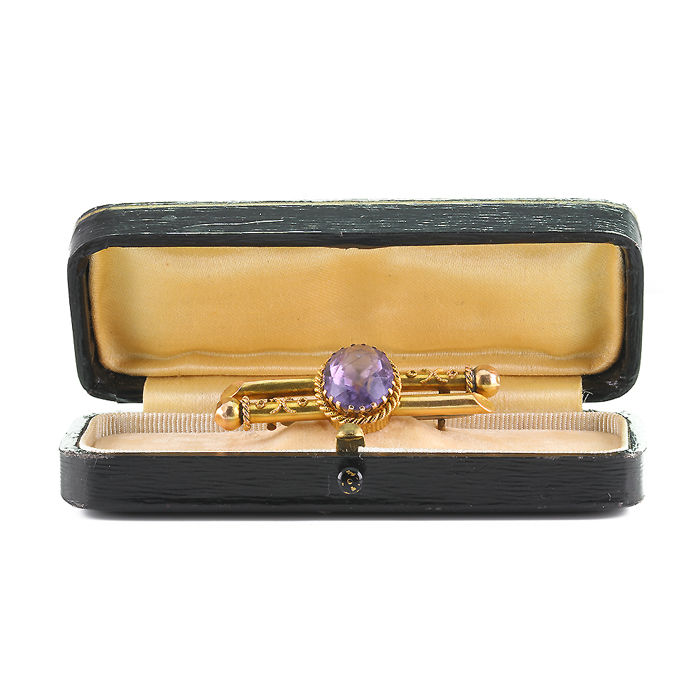 Antique Russian tsars' brooch Romanov 14 kt gold and amethyst from Siberia, signed 56, made 1908 - 1917