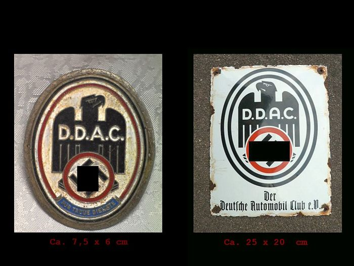 Enamel iron shield + badge - DDAC - the German Automobile Club - WW2 time - 1936