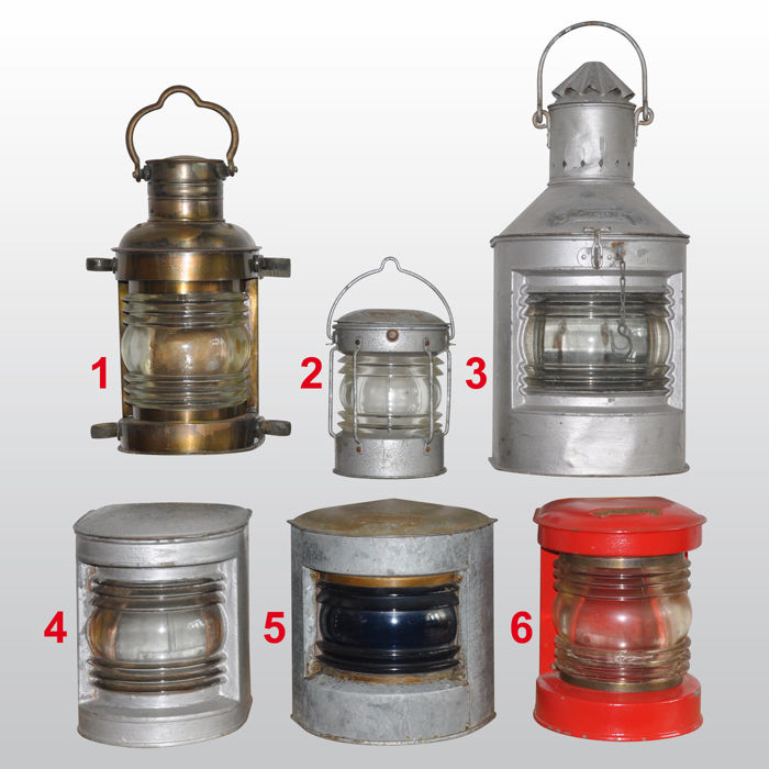 Collection 6 Marine Lamps - Steel - Second half 20th century