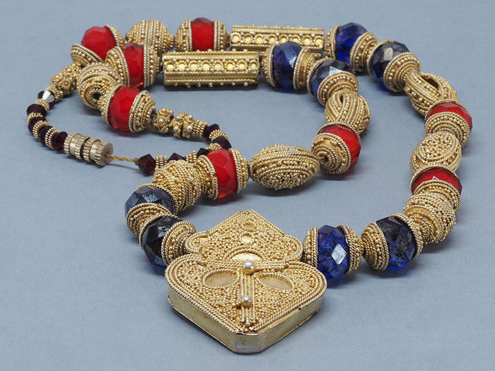 Old gilt silver and glass beads necklace. Mauritania