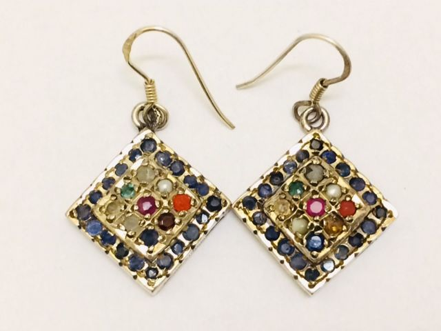 Antique silver Navaratna dangle earring with nine types of gemstones - India - 2nd half 20th century