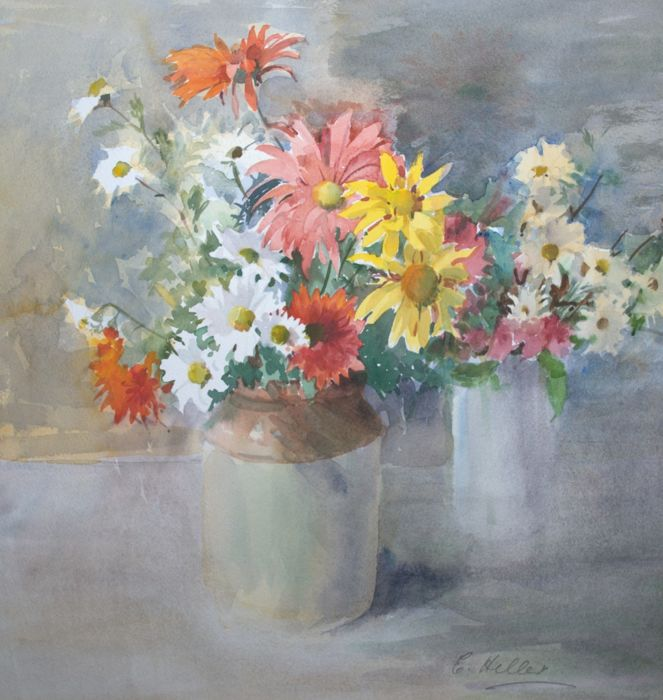 Eugenie M. Heller (1867-1952)  - Wild flowers in two vases