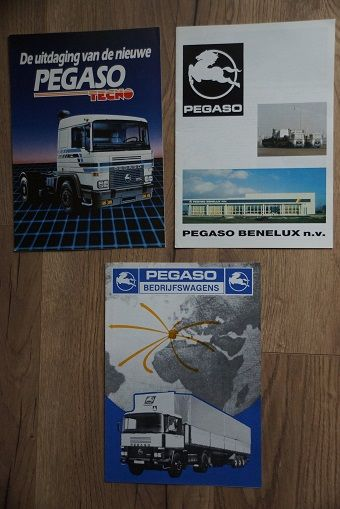 Brochures / Catalogues - 9 Pegaso brochures + 3 small ones and a sticker - 1987-1991 (13 items)