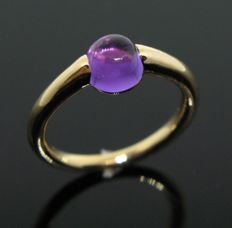 18 KT pink solid gold ring with 1 natural amethyst round cabochon-cut 1.10 ct-  Size: 51 (11) -Weight 4,2 gr