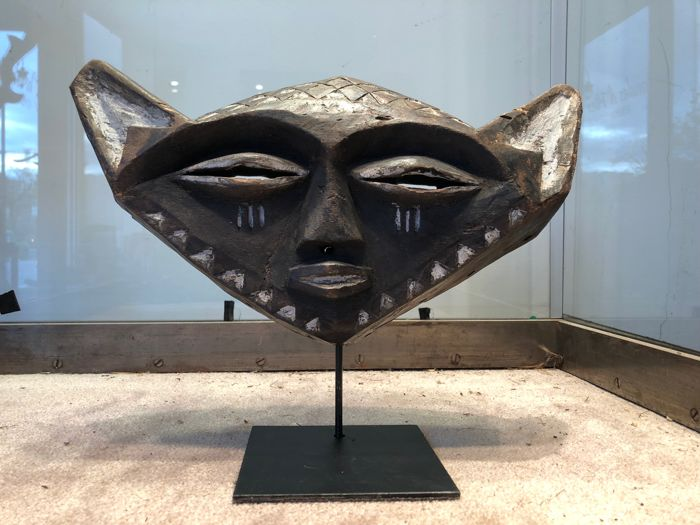 Very Beautiful Ancient Zoomorphic Mask in Polychrome Wood - Pende - Former Belgian Congo