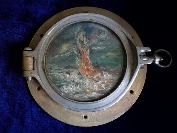 Porthole with Marine Painting - Brass - mid 20th century