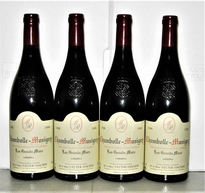 "1998 Chambolle-Musigny ""Les Grands Murs"" - Domaine Welter-Joachim - Bourgogne - 4 Flaschen (0,75 l)"