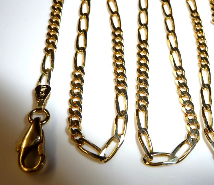 Necklace, Figaro chain, 14 kt completely solid, 56 cm, 10.82 grams - very shiny - no reserve price