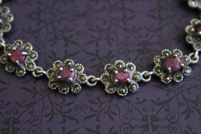 Solid silver bracelet around 1960 with rubies and marcasites - 925/1000 silver - probably for Italy - no reserve price
