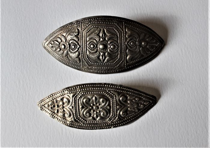 Two old big belt buckles in sterling silver-ethnic Shan-North Burma-20th century