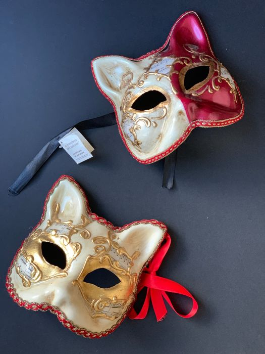 with certificate - Handmade Venice commedia dell'arte masks - Set of 2 - resin