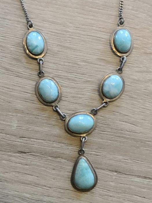 Vintage 925 silver necklace with natural turquoise cabochon Italy