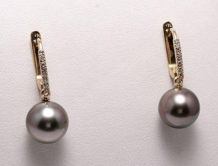 Earrings - Yellow Gold - 9x10mm Tahitian Pearls - 0.11 ct