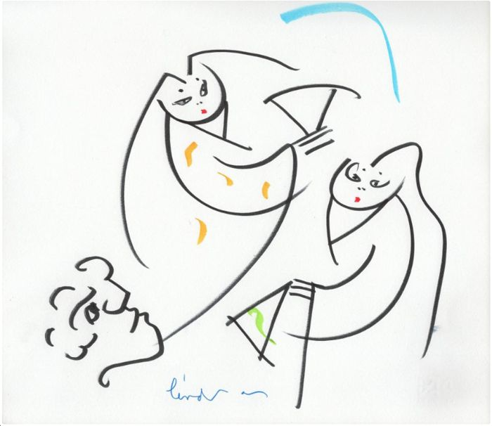Lindsay Kemp Choreographer and Painter - Dancing Drawings Sisters and Admirers Line Japan