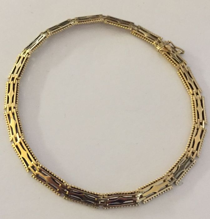 Gold bracelet, 1930 ART DECO pattern, 20 cm, 5 mm wide