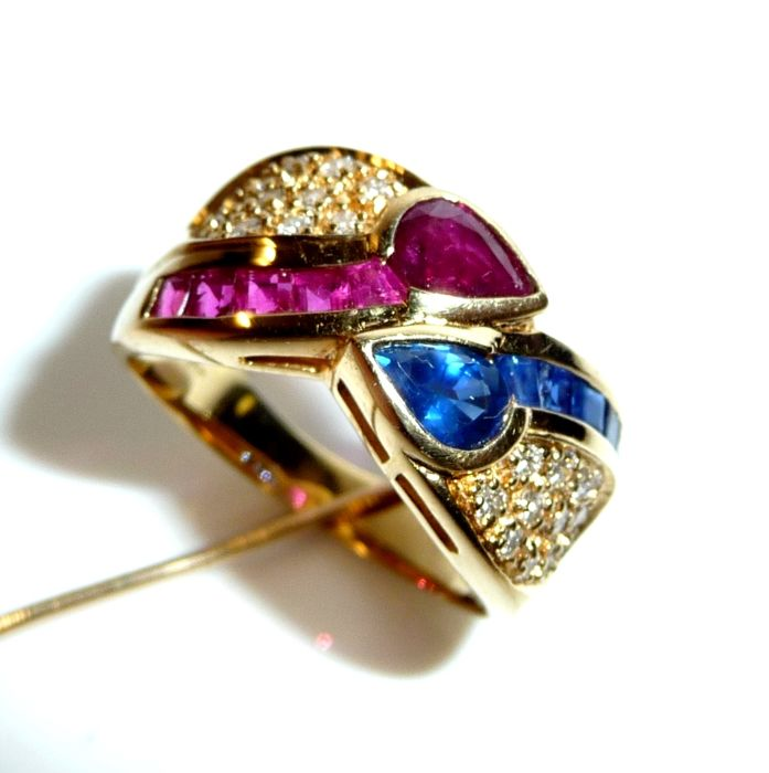 Ring - gold - 1.3 ct - ruby/sapphire and 0.50 ct of diamonds