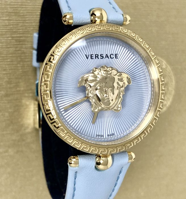 Versace - Palazzo Empire IP Gold Blue 34 mm dial leather  - VECQ00918 - Dames - 2011-heden