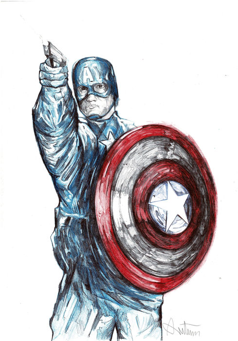 Captain America - Original Drawing - RUTTUM - First edition - (2017)
