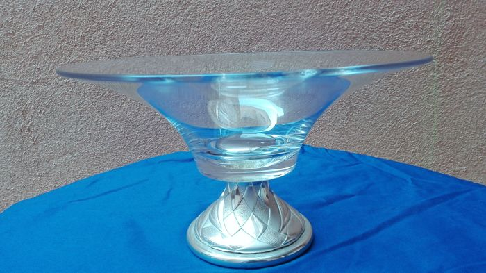 Silver and crystal Centrepiece/Bowl - Italy - 1950-1999