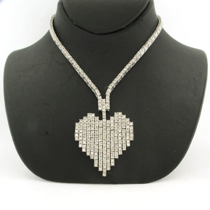 14 quilates Oro blanco - Collar - 2.50 ct Diamante