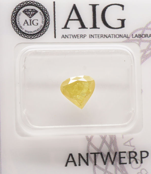 0.92 Cts Certified Natural Fancy Intense Yellow Diamond  -No Reserve