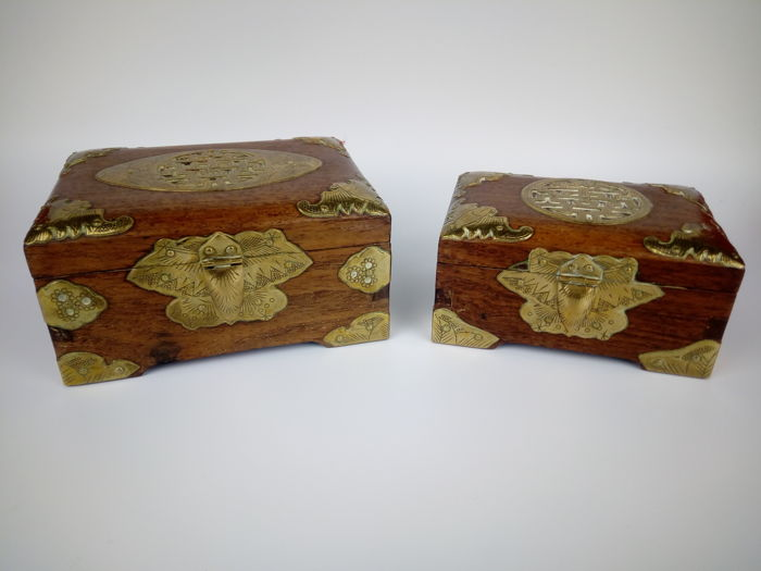 Two Jewelry boxes in brass and rosewood - China - mid to late 20th century