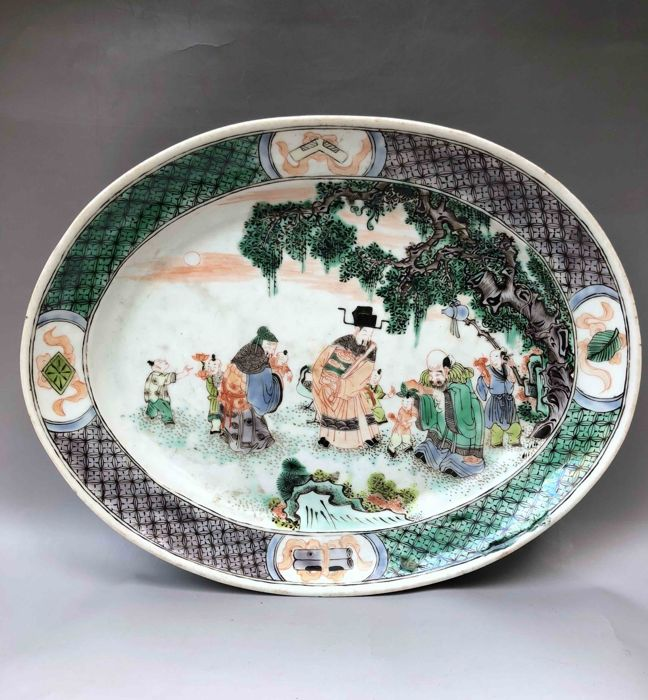 Nice  porcelain plate with figures - China - 19th century
