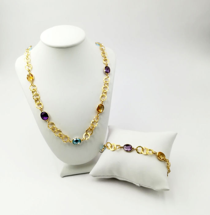 Women's set in 18 kt yellow gold made up of necklace and bracelet with amethyst, citrine quartz and topaz - dimensions: 7.77 x 8.94 mm