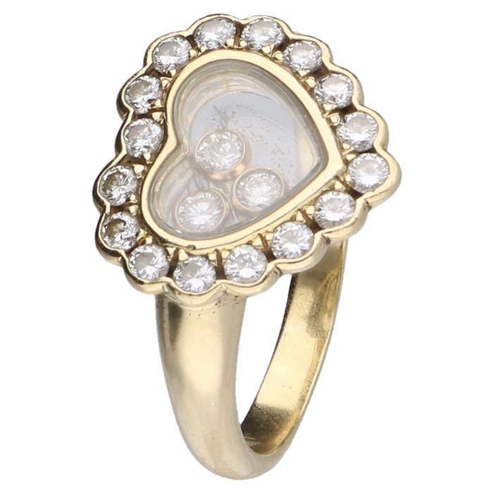 18 kt yellow gold Chopard happy diamonds ring set with diamond, approx. 0.37 ct in total - Ring size: 17.25 mm - NO RESERVE!!