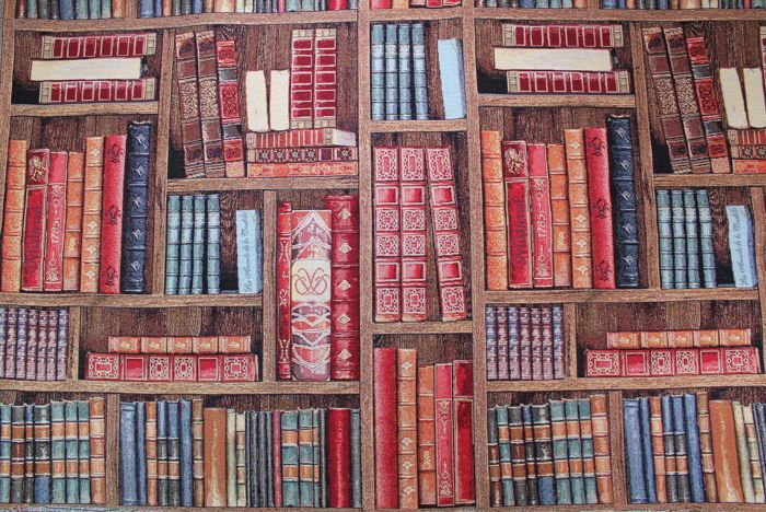 1.40 x 5.50 meters Vintage gobelin fabric recalls a large mobile bookcase