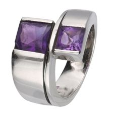 18 kt white gold J.B. Gioielli wavy ring set with Amethyst - Ring size: 17.25 mm