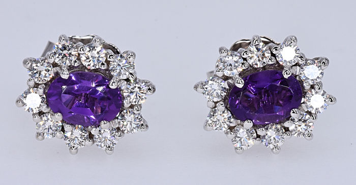 2.92 Ct Amethyst and Diamonds, rosette earrings - 18kt white gold - 20 brilliant cut diamonds – Size: 13x11 mm - ***NO RESERVE price***