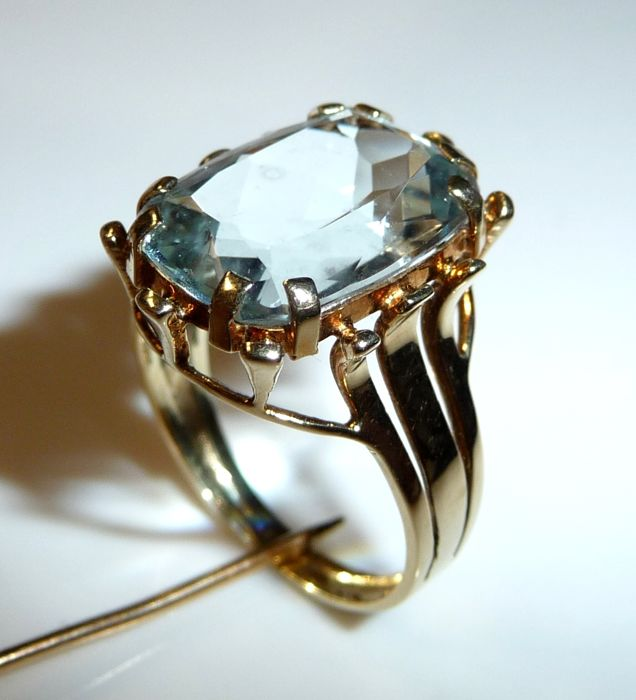 Ring made of 14 kt / 585 gold 7 ct natural aquamarine, ring size 53-54 adjustable *no reserve price*