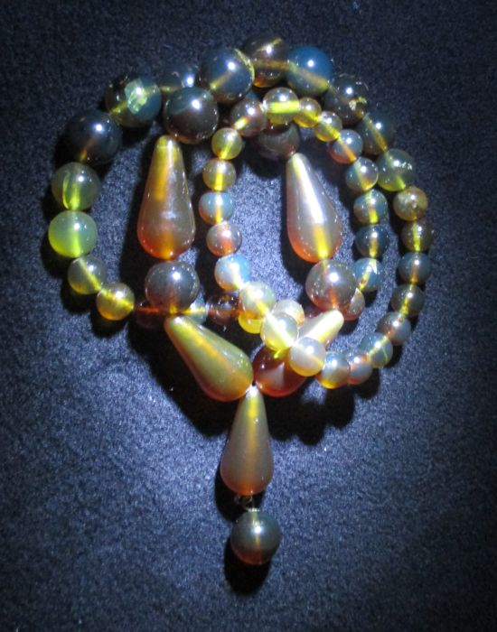 Red - yellow - blueish Indonesian - transparent amber necklace