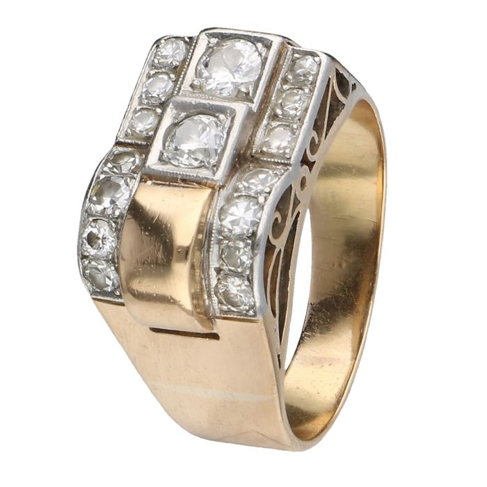 10 karat (BLGG) yellow gold Art Deco tank ring set with approx. 0.66 carat in total in diamond - Ring size: 18.50 mm